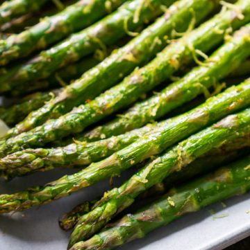 asparagus on a white plate