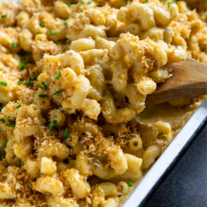 butternut squash mac and cheese in a baking dish