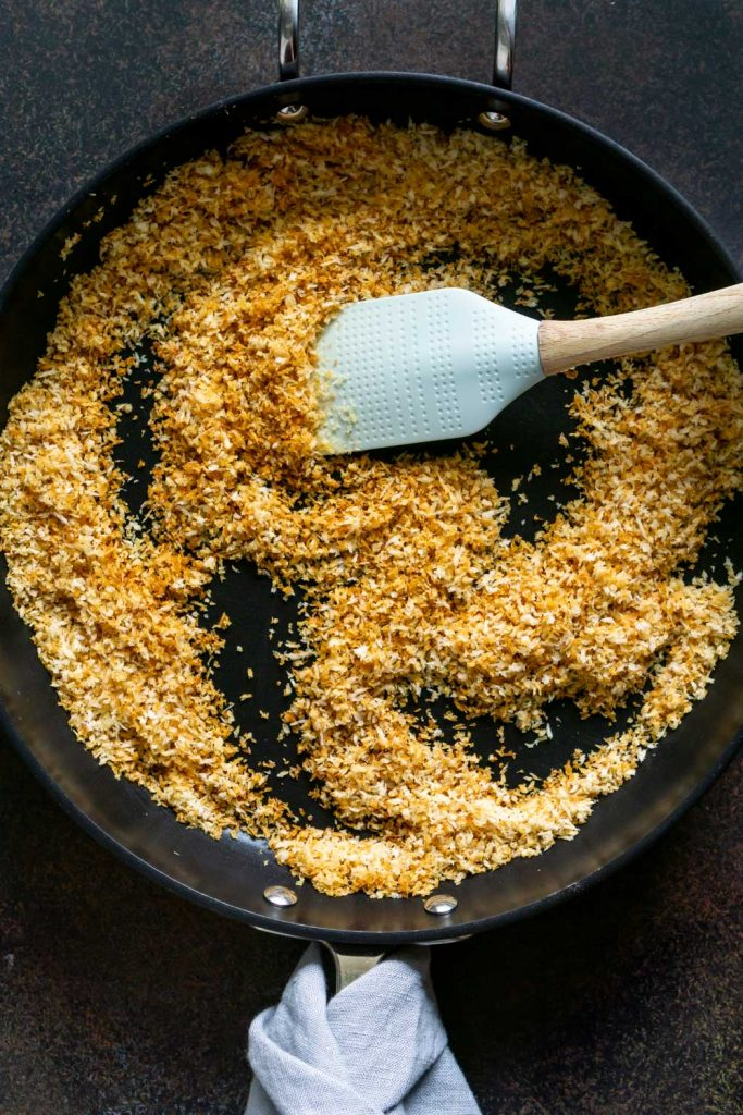 toasted panko in a black pan