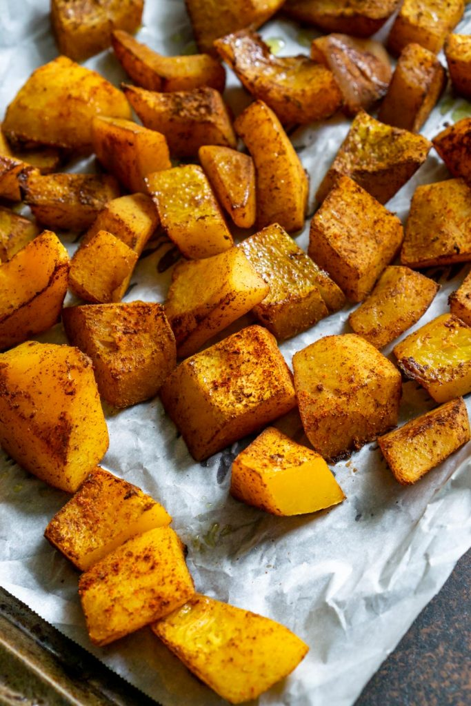 roasted butternut squash on a baking sheet