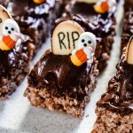 chocolate rice krispie treats with candy ghosts