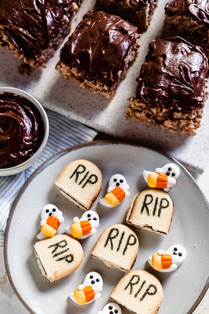 RIP cookies with candy ghosts