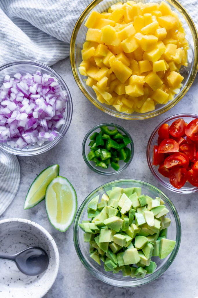 salsa ingredients in small bowls