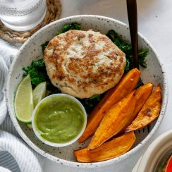 chicken burger with sweet potato wedges