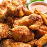 air fryer wings on a white plate