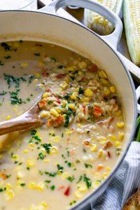corn chowder in a large pot