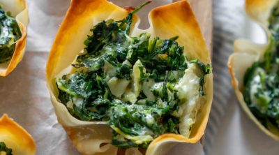 spinach and artichoke dip wonton cups