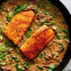 tuscan salmon in a cast iron pan