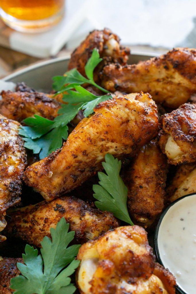 air fryer lemon pepper wings with parsley and ranch dressing