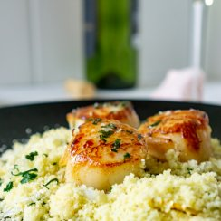 seared scallops over moroccan couscous