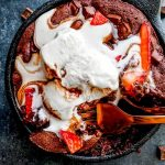 brownie skillet with strawberries