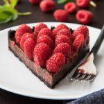 raspberry chocolate tart on a white plate