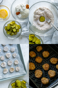 collage of process steps for making fries pickles