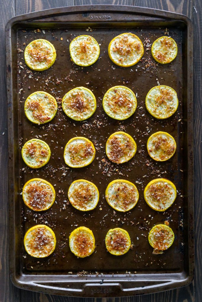 yellow squash on a baking sheet