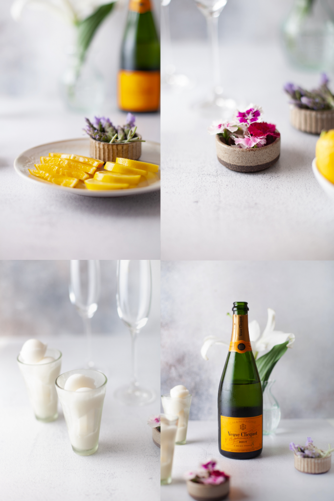 ingredients: lemons, flowers, peach sorbet, champagne