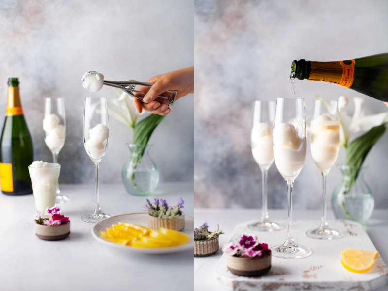making champagne cocktails
