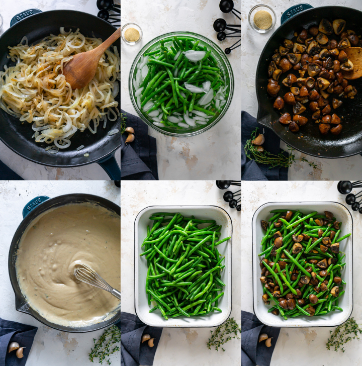 steps for making healthy green bean casserole