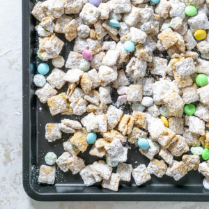 puppy chow on a baking sheet