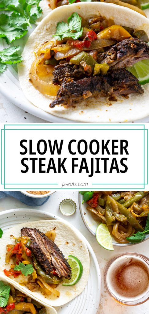 slow cooker steak fajitas pin