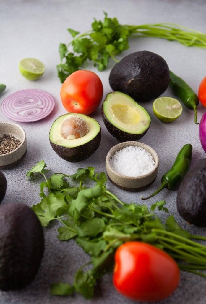 avocados, tomatoes, cilantro, red onion