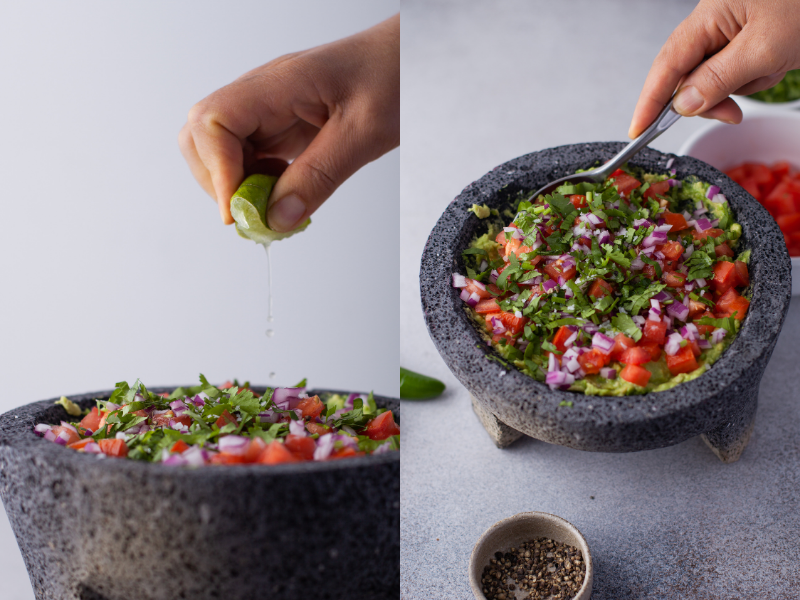squeezing lime juice and mixing guacamole in a molcajete
