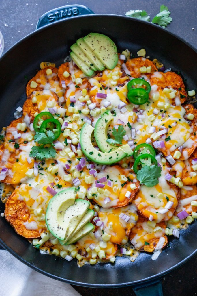 mexican sweet potatoes in a skillet