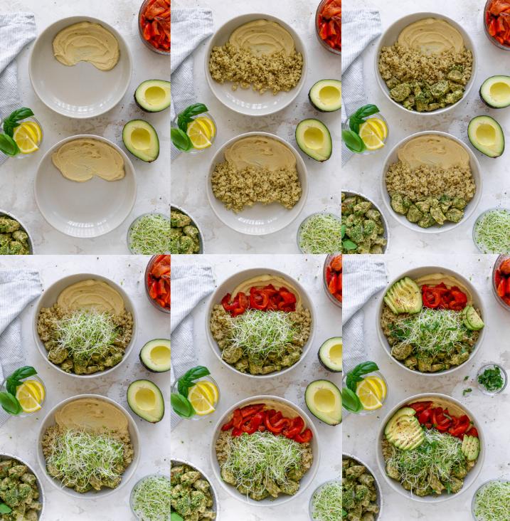 steps to make pesto chicken bowls