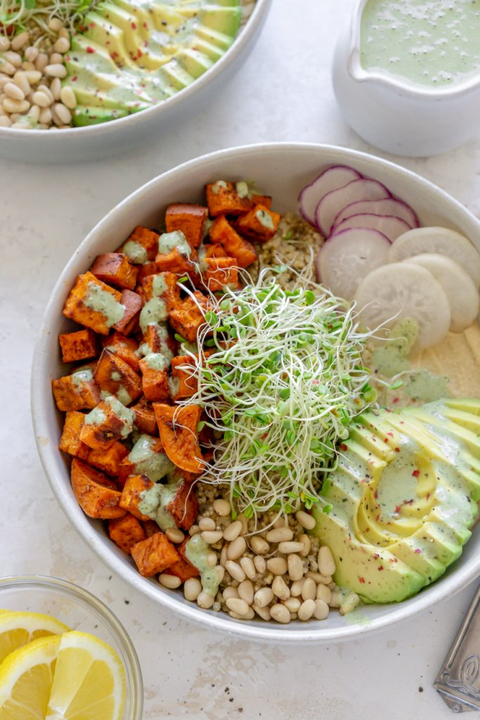 roasted sweet potato bowls with green goddess dressing