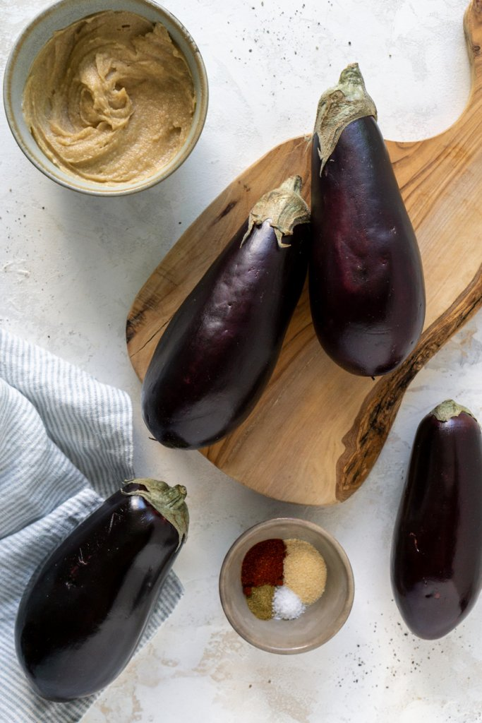 ingredients: eggplant, spices, tahini