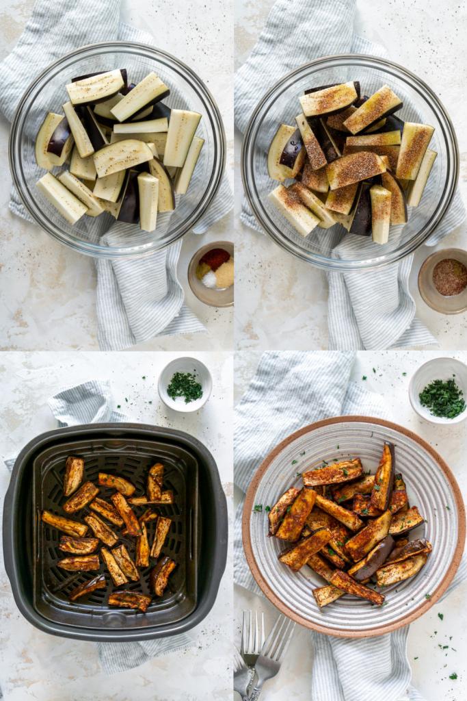 steps to make air fryer eggplant fries