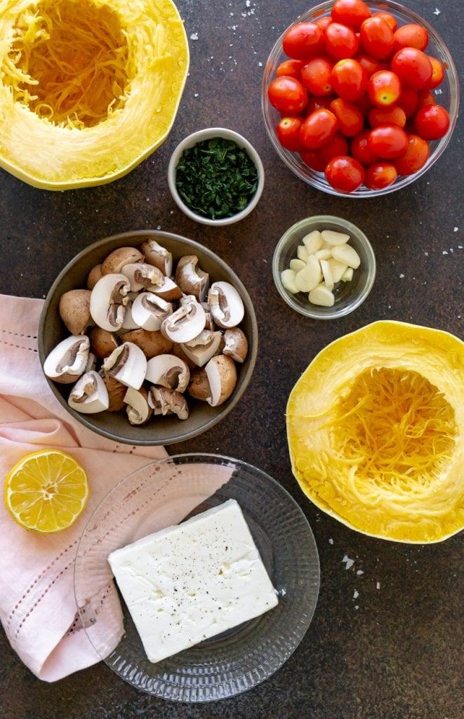 ingredients: tomatoes, mushrooms, spaghetti squash, feta cheese