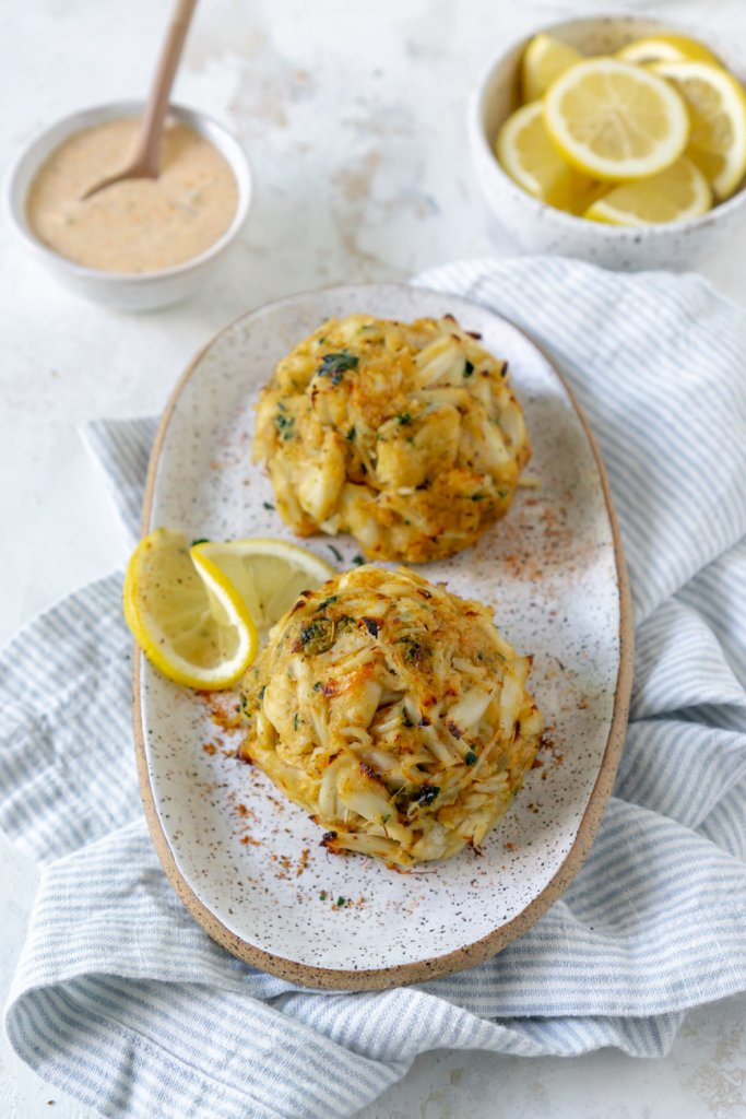 two crab cakes on a plate