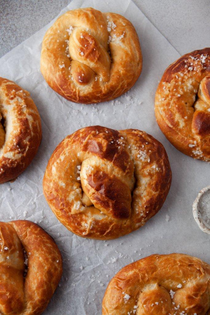 homemade soft pretzels on parchment paper