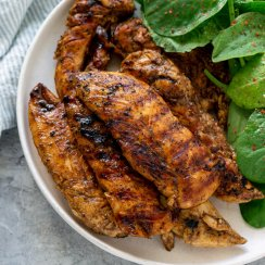 honey balsamic chicken on a plate with salad