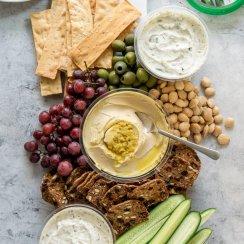 mediterranean mezze platter on a serving board