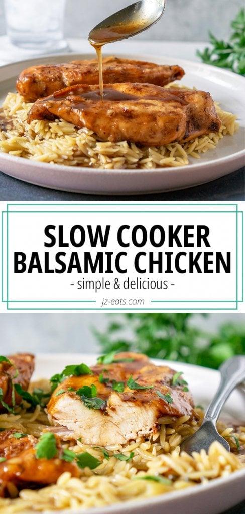 slow cooker balsamic chicken pinterest pin