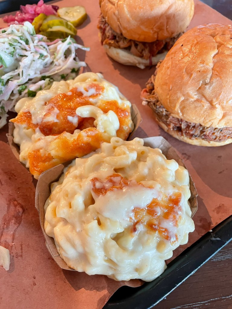 mac and cheese with two pulled pork sandwiches from lewis bbq