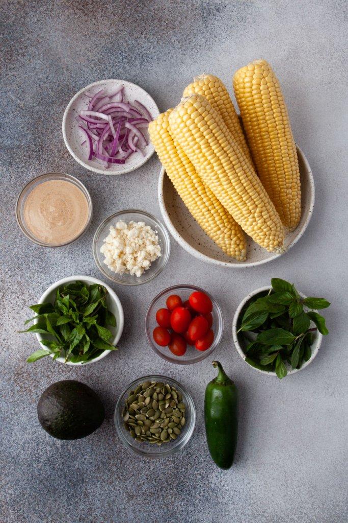 corn, red onion, cheese, mint, basil, tomatoes, jalapeno, avocado