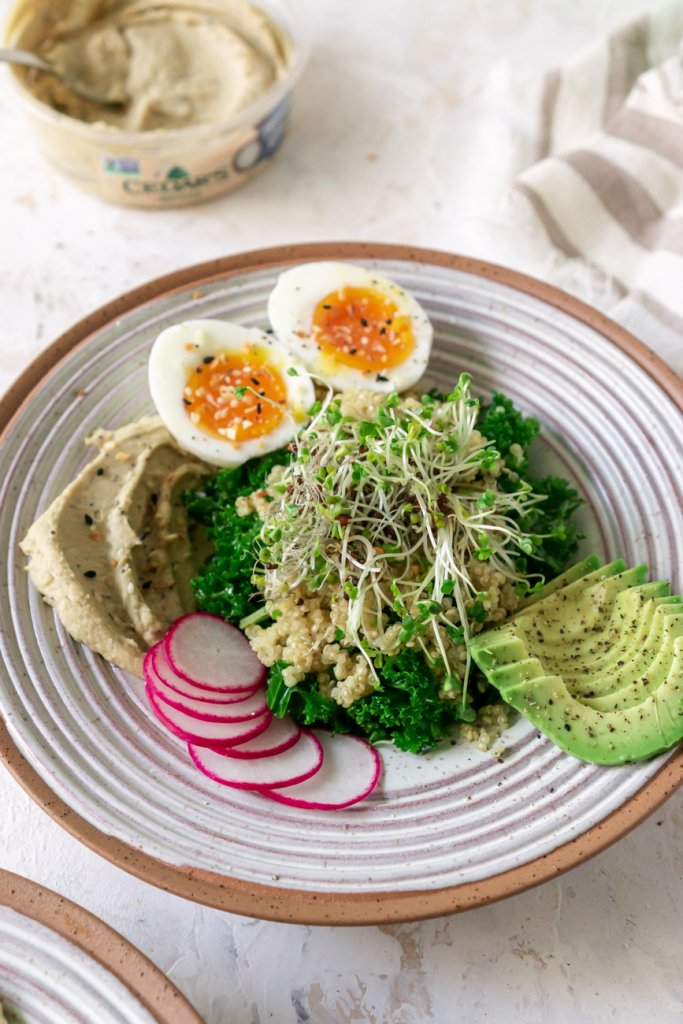 breakfast hummus bowl with 6 minute eggs and radishes