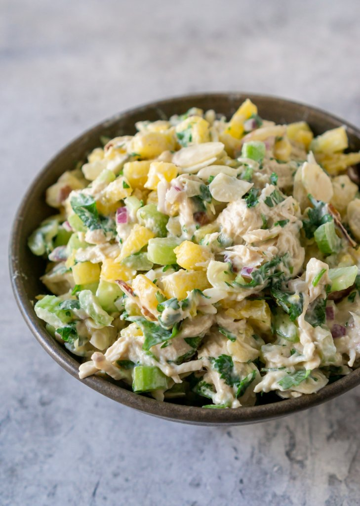 pineapple chicken salad in a bowl